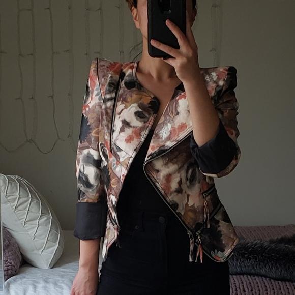 Tov Faux Leather Floral Print Moto Jacket